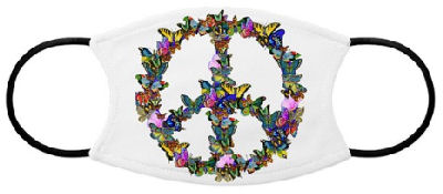 The classic anti-war symbol takes on a new identity with multi-colored butterflies shaping the peace sign.
