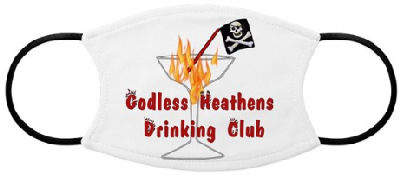 Cocktail glass with the burning flames of hell, pirate flag and words