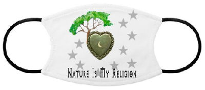 A tree grows from a heart with a crescent moon, and is surrounded by stars with the words: Nature Is My Religion.
