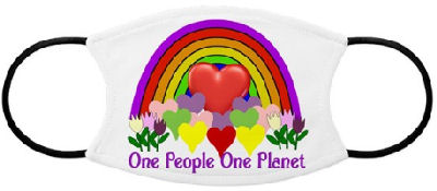 Colorful and eye catching design of a rainbow with hearts, tulips, and one big red heart to illustrate
