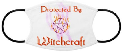 This pentagram design with lightning and fire bolts and text that says: Protected By Witchcraft tells those that wish you harm they'd better back off.