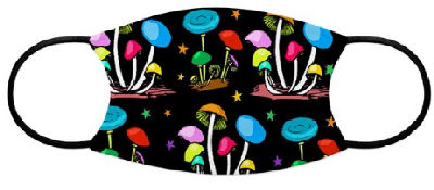 Pretty mushrooms in psychedelic colors and rainbows of stars against a black background will make your spirit sing.