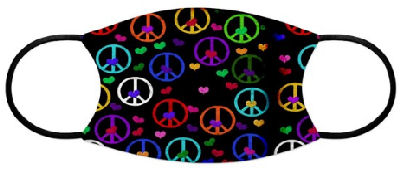 Peace symbols for anti-war pacifists in rainbow of colors with multi-colored hearts in the center says No More Wars.