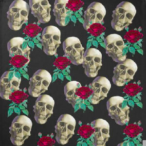 White grinning skulls and red roses with green leaves against a black background make this a striking and unique design.