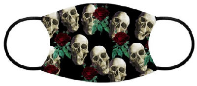 Grinning skulls with red roses against a black background makes you stand out in the crowd as unique and different.