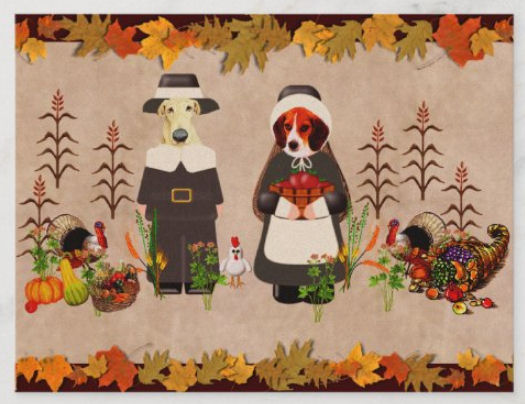 Share some Thanksgiving humor with this year with dogs decked out in their pilgrim finest among the bounty of the fall harvest with a couple turkeys and a chicken finishing up the family portrait.