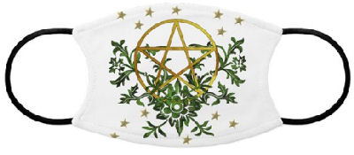 Celebrate Nature with an ancient symbol of earth-centered spirituality in the shape of a pentagram surrounded by green foliage representing life and stars for mystic seers.